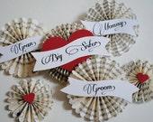 Wedding party pin medallion name tag brooch
