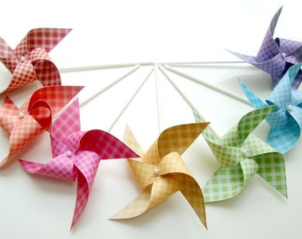 Pinwheels GINGHAM RAINBOW set of 7 mini pinwheels...