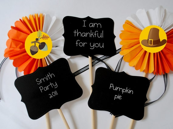 Thanksgiving Dinner party photo prop chalkboard on a stick set of 3