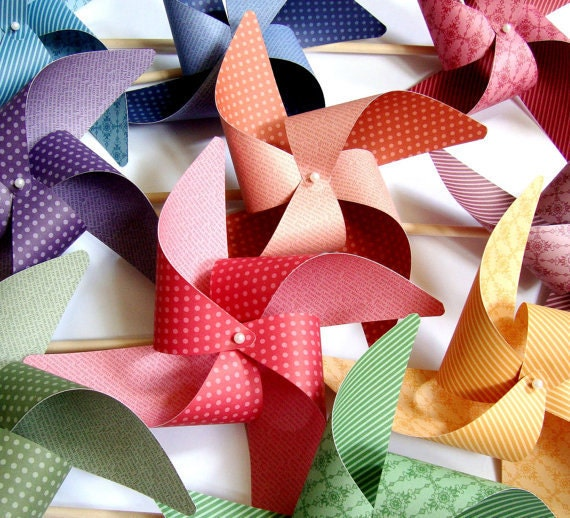 Pinwheels Autumn Mix YOU PICK the COLORS set of 8 Large  Pinwheels
