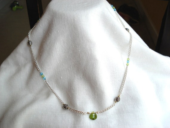 Silver Plated Chain Necklace with Olive Green Swarovski Crystal Tear Drop
