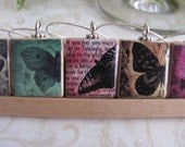 BUTTERFLY Reversible Scrabble Wine Charm Set of 8