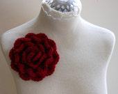 Red Flower Pin, Brooch Handmade Luxury Wool Yarn