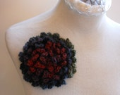 Flower Pin Large Mulit-Colored Brooch Handmade Crochet Blue, Red, Purple, & Green