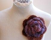 Flower Pin Large Rust, Purple and Burdundy Multi-Colored Brooch Handmade