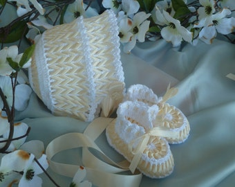 Hand Crocheted White and Ivory/Ecru Baby Booties