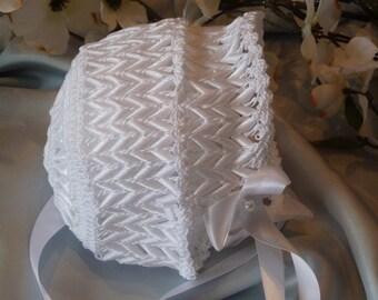 White Hand Crocheted Baby Bonnet