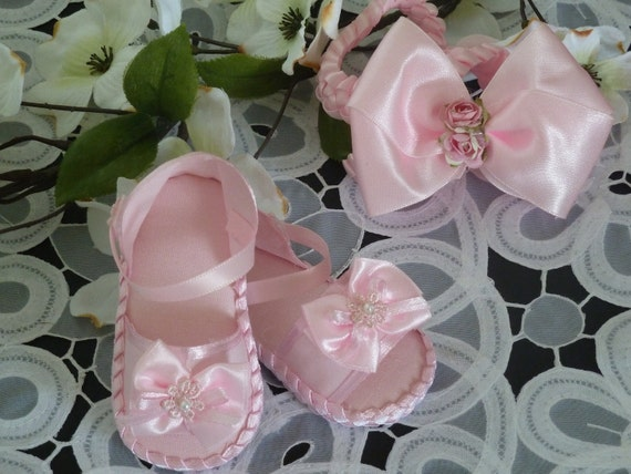 Baby Girl Pink Sandals and Headband Set