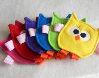 MADE TO ORDER - Friendly Owl Crinkle Toy for Baby Girl