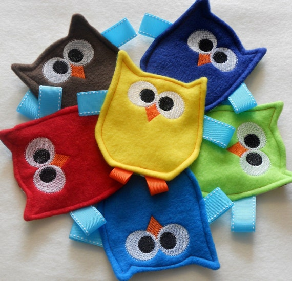 Items similar to Friendly Owl Crinkle Toy for Baby Boy on Etsy