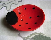 Ladybug Ceramic Dish, bowl, good luck, jewelry, ring, candy dish, home decor, soap dish, candle holder, teabag holder, spoon rest.