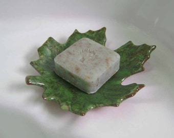 Maple Leaf Ceramic Dish, bowl, catchall, jewelry, ring holder, nature decor, soap dish, candle holder, teabag holder, spoonrest.