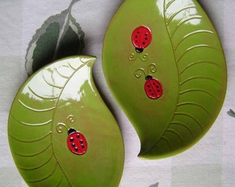Leaf with Ladybug Ceramic Dish, bowl, plate, catchall, jewelry, ring, decor, soap dish, candle holder, teabag holder, spoonrest.