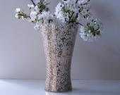 Mid Century mod speckled glass vase