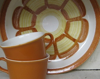 Mid Century orange flowered plates set of 3