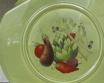 Mid Century large avocado green vegetable ceramic storage jar