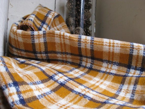 Vintage mustard yellow and navy plaid wool fabric
