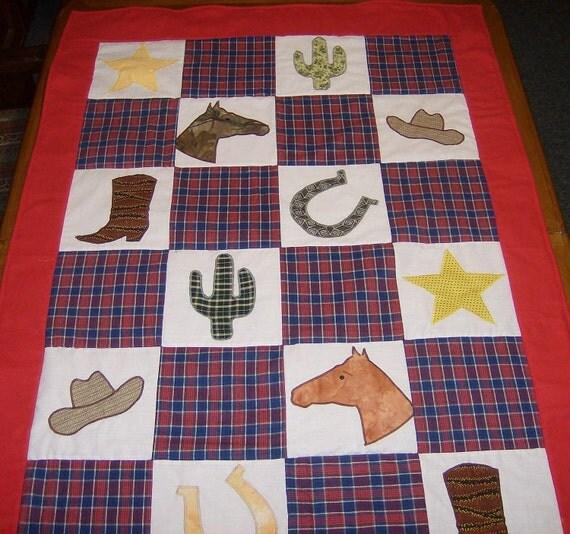 Applique Cowboy Baby Quilt - Throw  - Ready to ship