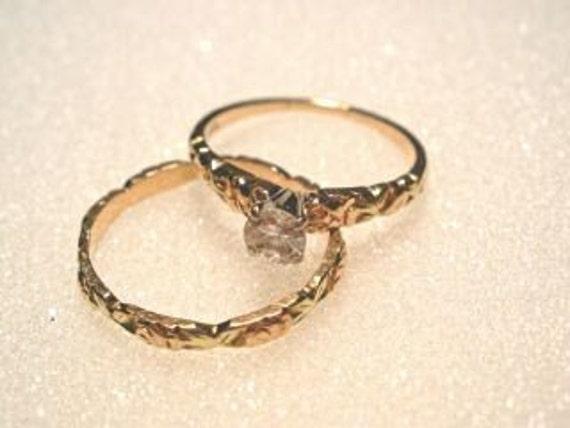 Vintage Rose Gold and Diamond Wedding Ring Set by Jabel