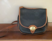 Vintage Navy and Brown Leather Dooney and Bourke Purse