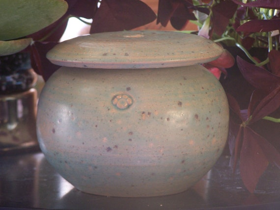 Robin's egg blue pet urn/ lidded jar