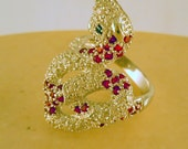 Green Eyed Snake- Sterling Silver Snake Ring with White, Red, and Green Cubic Zirconias