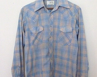 Vintage 1970s Men's Sky Blue and Orange Plaid Western Shirt Size Medium