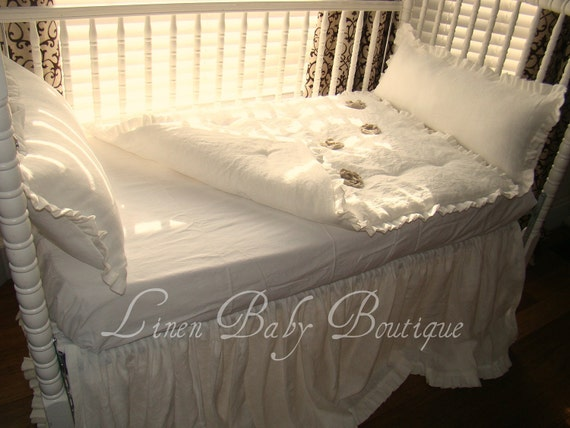 Bumperless 4 Piece Baby Bedding Ivory or White Linen Crib Bedding.