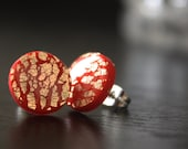 Red and Gold - Post Earrings