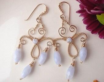 Wire wrapped handmade earrings 14k goldfill chandelier Blue Lace Agate gemstone jewelry