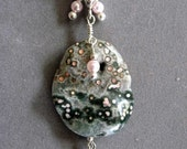Mermaid-Ocean Jasper with Crystal Window on Swarovski Pearl and Freshwater Pearl Strand