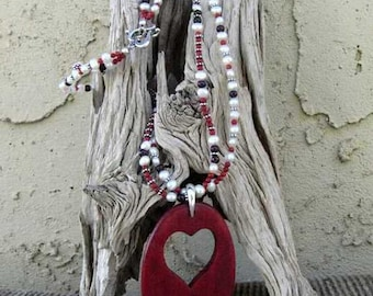 Sedona Valentine Heart Necklace with Freshwater Pearls