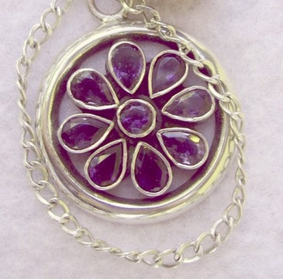 Iolite and Sterling Silver Daisy with Amethyst Ball - OOAK Dowsing Pendulum