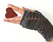 Hand knit fingerless mitts / gray / steel grey / wool / lace decor / rustic chic / for her / Christmas / Valentine's - MaybeTheWhiteDog