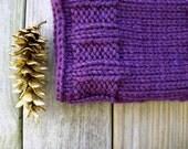 Hand knit winter cowl / royal purple / deep plum / urban rustic / winter chic / autumn neckwarmer / warm / neck cozy / over sized / soft