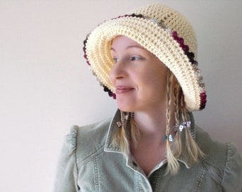 Crochet / Hat / cream white / cottage chic / cotton / spring summer brimmed hat / raspberry red caramel picot edge / for her