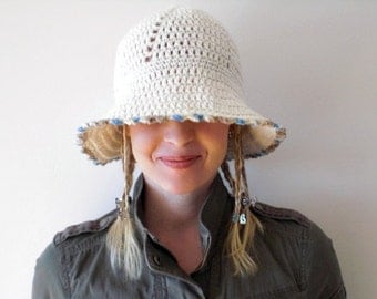 Hand crochet hat / natural white / rustic chic / cotton / country style inspired / brimmed hat / sky blue caramel picot edge / for her