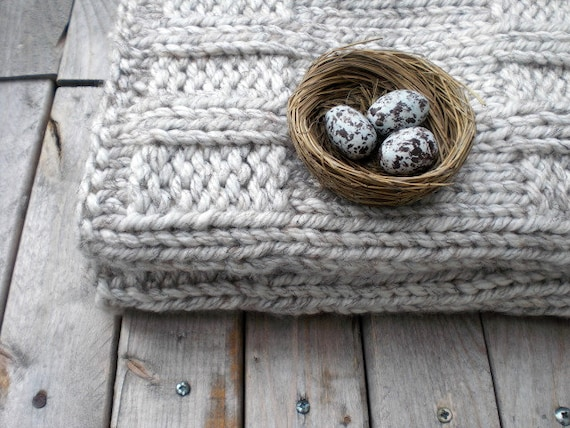Hand knit chunky cowl /  winter wheat light warm gray / country rustic / urban chic / extra chunky neck warmer / Maybe the White Dog