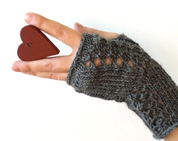Hand knit fingerless mitts / gray / steel grey / wool / lace decor / rustic chic / for her / Christmas / Valentine's