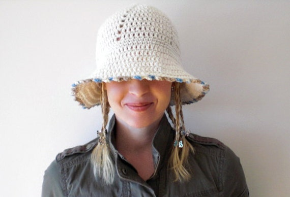 Hand crochet white cotton womens hat / natural white country chic cotton hat / rustic hat with brim for her / sky blue caramel picot trim