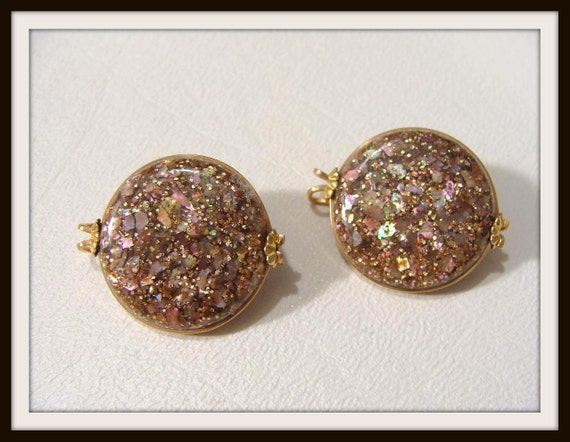 REDUCED was 14.00 vintage 50s Copper Glitter Confetti Shoe or Dress Clips or Earrings