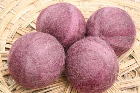 Wool Dryer Balls - Antique Mauve Swirl - Set of Four