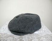 Vintage Newsboy Cap Hat, Grey Woolen Felt, 1950s