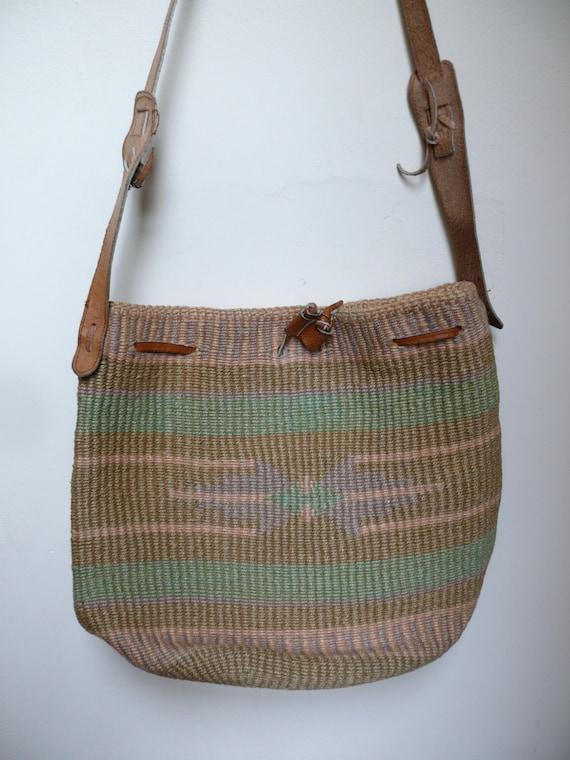 Vintage Aztec Purse Native Woven Southwest Tote Bag