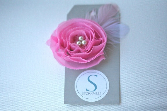Soft Pink Flower Hair Clip with Pearls & Feathers