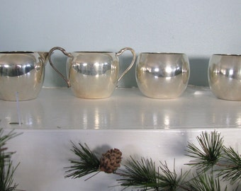 Vintage SIlver Plated Cream and sugar set  and two cups