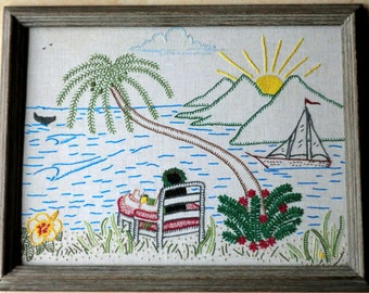INSTANT download Crewel Embroidery PATTERN of 'Island Daze'