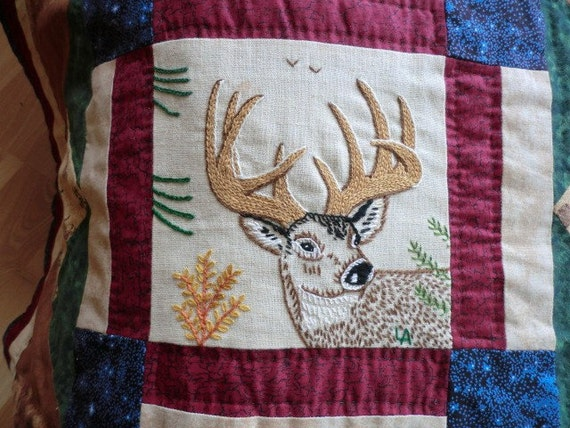 America The Wild Hand Embroidered Quilt