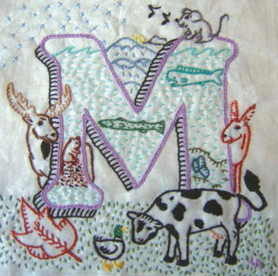 Instand download M of ABCs of AGRICULTURE crewel embroidery PATTERN