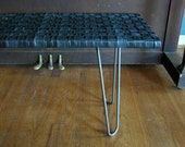 4' Retread Bench - Recycled Bicycle Tubes & Raw Steel Hairpin Legs